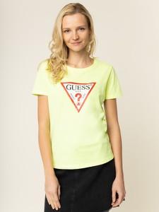 Żółty t-shirt Guess w młodzieżowym stylu z okrągłym dekoltem z krótkim rękawem