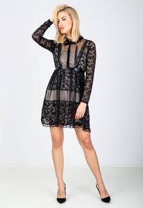 Czarna sukienka Zoio z długim rękawem