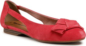Czerwone baleriny Tamaris z zamszu w stylu casual