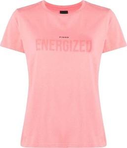 Różowy t-shirt Pinko w młodzieżowym stylu z bawełny z okrągłym dekoltem