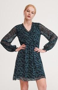 Turkusowa sukienka Reserved z dekoltem w kształcie litery v w stylu casual z długim rękawem