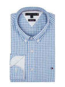 Niebieska koszula Tommy Hilfiger w stylu casual z bawełny z kołnierzykiem button down