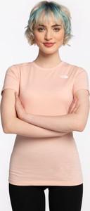 Różowa bluzka The North Face z krótkim rękawem z bawełny w sportowym stylu