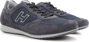 Granatowe buty sportowe Hogan sznurowane ze skóry