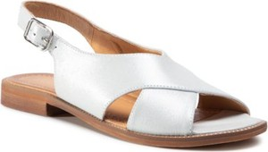Srebrne sandały Lasocki z klamrami