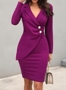 Fioletowa sukienka Cikelly z długim rękawem z dekoltem w kształcie litery v
