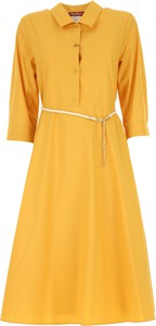 322afeb20e Żółta sukienka MaxMara z bawełny w stylu casual z kołnierzykiem