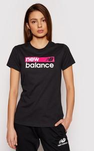 Czarna bluzka New Balance w sportowym stylu z okrągłym dekoltem