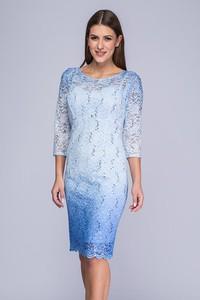 Niebieska sukienka Semper z tkaniny midi z długim rękawem