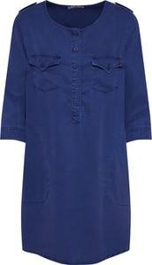 Niebieska sukienka LTB z okrągłym dekoltem z długim rękawem koszulowa