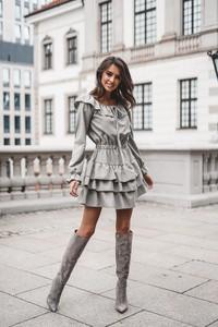Sukienka Popatu z długim rękawem z bawełny mini