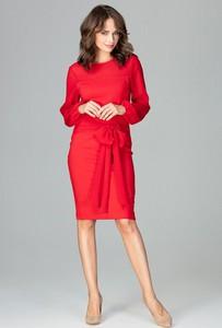 95ee85b70e Sukienka sukienki.pl midi z okrągłym dekoltem z długim rękawem