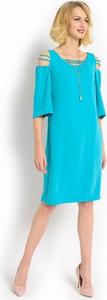 Niebieska sukienka POTIS & VERSO ołówkowa z bawełny