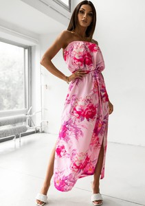 Różowa sukienka Latika maxi z dekoltem w kształcie litery v