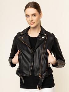 Czarna kurtka Liu-Jo krótka w rockowym stylu