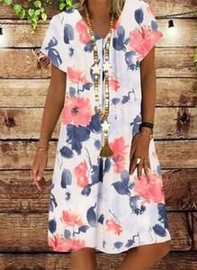 Sukienka Cikelly z dekoltem w kształcie litery v w stylu casual z krótkim rękawem