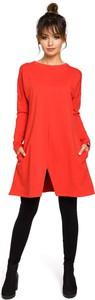 Czerwona sukienka BeWear z długim rękawem