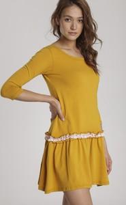 Sukienka Renee mini z okrągłym dekoltem z długim rękawem