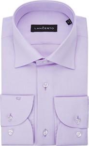 Fioletowa koszula LANCERTO z tkaniny z klasycznym kołnierzykiem