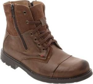 Brązowe buty zimowe butyolivier.pl ze skóry sznurowane