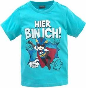 Błękitna koszulka dziecięca kidsworld z dżerseju z nadrukiem z krótkim rękawem