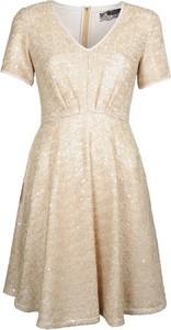 Sukienka Patrizia Pepe rozkloszowana w stylu glamour z krótkim rękawem