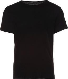 Czarny t-shirt Multu z krótkim rękawem z bawełny w stylu casual