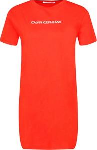Sukienka Calvin Klein prosta w stylu casual z krótkim rękawem