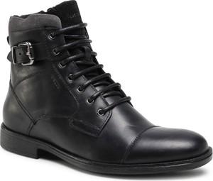 Czarne buty zimowe Geox sznurowane