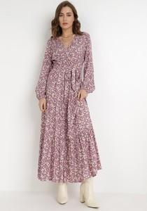 Sukienka born2be z dekoltem w kształcie litery v z długim rękawem kopertowa