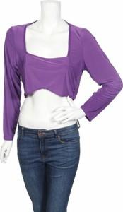 Fioletowa bluzka BooHoo w stylu casual z okrągłym dekoltem