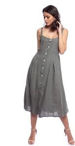 Sukienka Lin Passion w stylu casual z lnu z dekoltem w kształcie litery v
