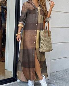 Brązowa sukienka Kendallme z kołnierzykiem maxi koszulowa