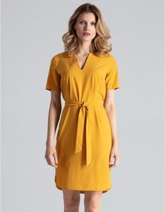 Żółta sukienka Figl z krótkim rękawem z dekoltem w kształcie litery v