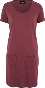 Czerwona sukienka bonprix bpc bonprix collection z krótkim rękawem