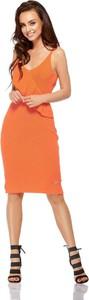 Pomarańczowa sukienka Coco Style z okrągłym dekoltem