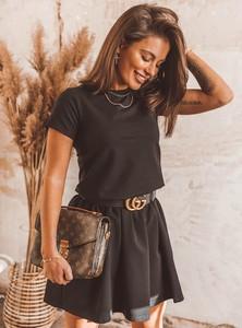 Czarna sukienka SELFIEROOM z okrągłym dekoltem rozkloszowana z bawełny