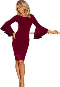 Czerwona sukienka NUMOCO dopasowana z długim rękawem z okrągłym dekoltem