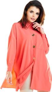 Różowa koszula Awama z długim rękawem z tkaniny