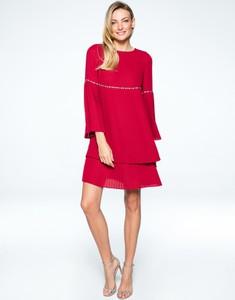 Sukienka L'AF z długim rękawem z okrągłym dekoltem z tkaniny