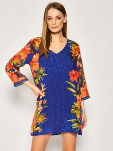 Sukienka Desigual w stylu casual z długim rękawem z dekoltem w kształcie litery v