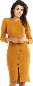 Żółta sukienka Awama midi w stylu casual