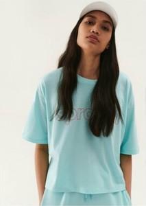 Turkusowy t-shirt Sprandi w stylu casual z okrągłym dekoltem