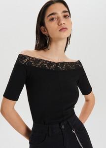Czarna bluzka Cropp w stylu boho hiszpanka