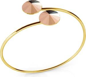 GIORRE SREBRNA WSUWANA BRANSOLETKA SWAROVSKI RIVOLI 925 : Kolor kryształu SWAROVSKI - Rose Gold, Kolor pokrycia srebra - Pokrycie Żółtym 24K Złotem