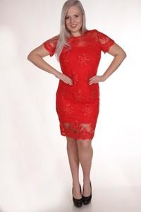 Czerwona sukienka Fokus mini z krótkim rękawem z okrągłym dekoltem