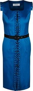 Granatowa sukienka Fokus gorsetowa z krótkim rękawem z dekoltem w karo