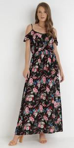 Czarna sukienka born2be maxi z dekoltem w kształcie litery v