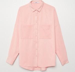 Różowa koszula Cropp w stylu casual z kołnierzykiem z długim rękawem