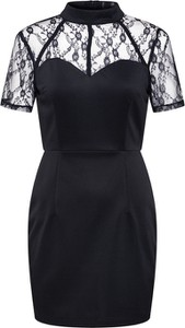 Czarna sukienka Missguided mini z tkaniny z krótkim rękawem